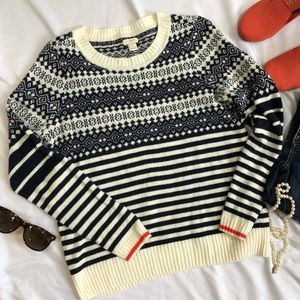 J Crew Fair Isle Sweater Wool Blend small A19